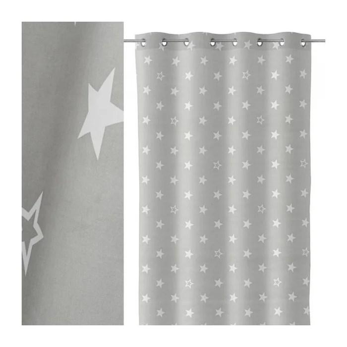 rideau a œillets gris etoiles blanches chambre enfant longueur 260cm