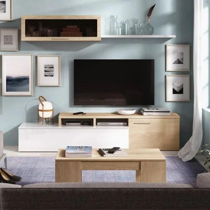 meuble tv bicolore avec rangements 200 x 44 cm et etagere murale vitree 105 x 32 cm melina zendart selection