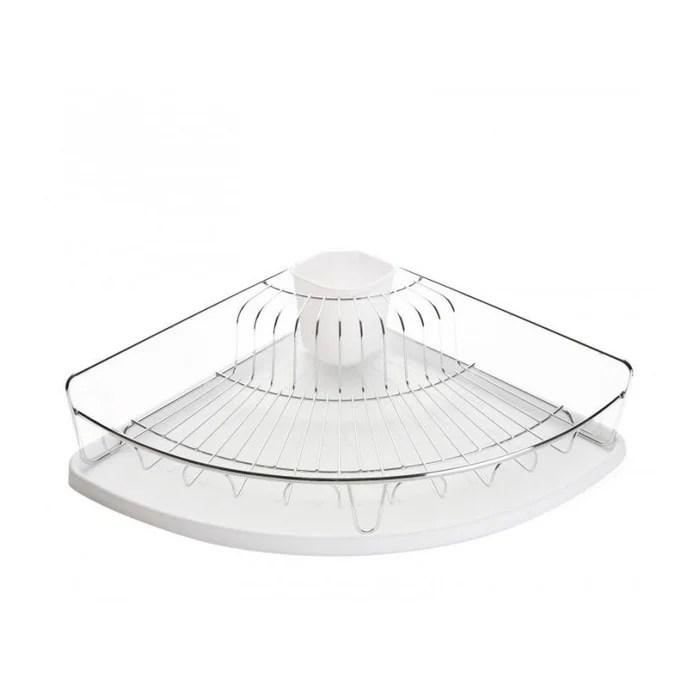 egouttoir a vaisselle d angle en inox et bac recuperateur plastique blanc