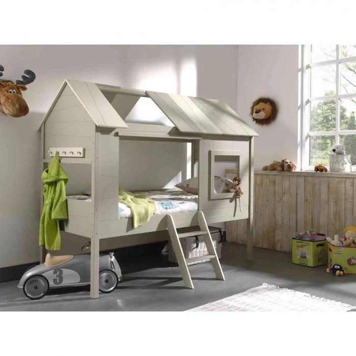 lit cabane enfant gris