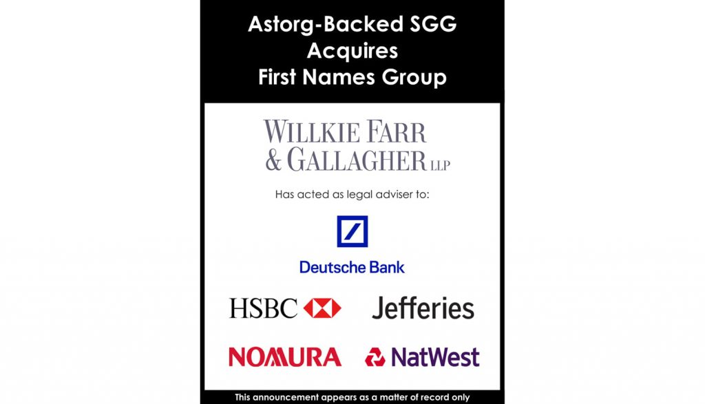 Astorg-backed SGG acquires First Names Group