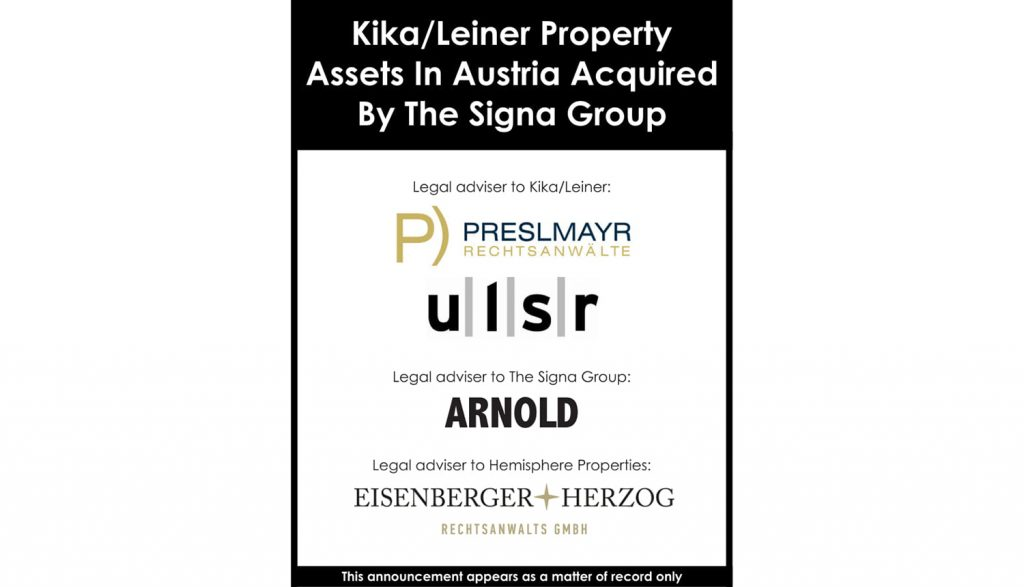 Kika/Leiner property assets in Austria acquired by the Signa