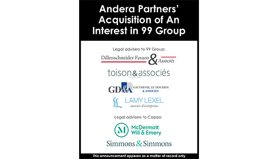 Andera Partners' Acquisition of an interest in 99 Group