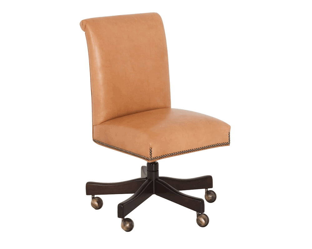 American Made Armless Leather Desk Chair 698 USA