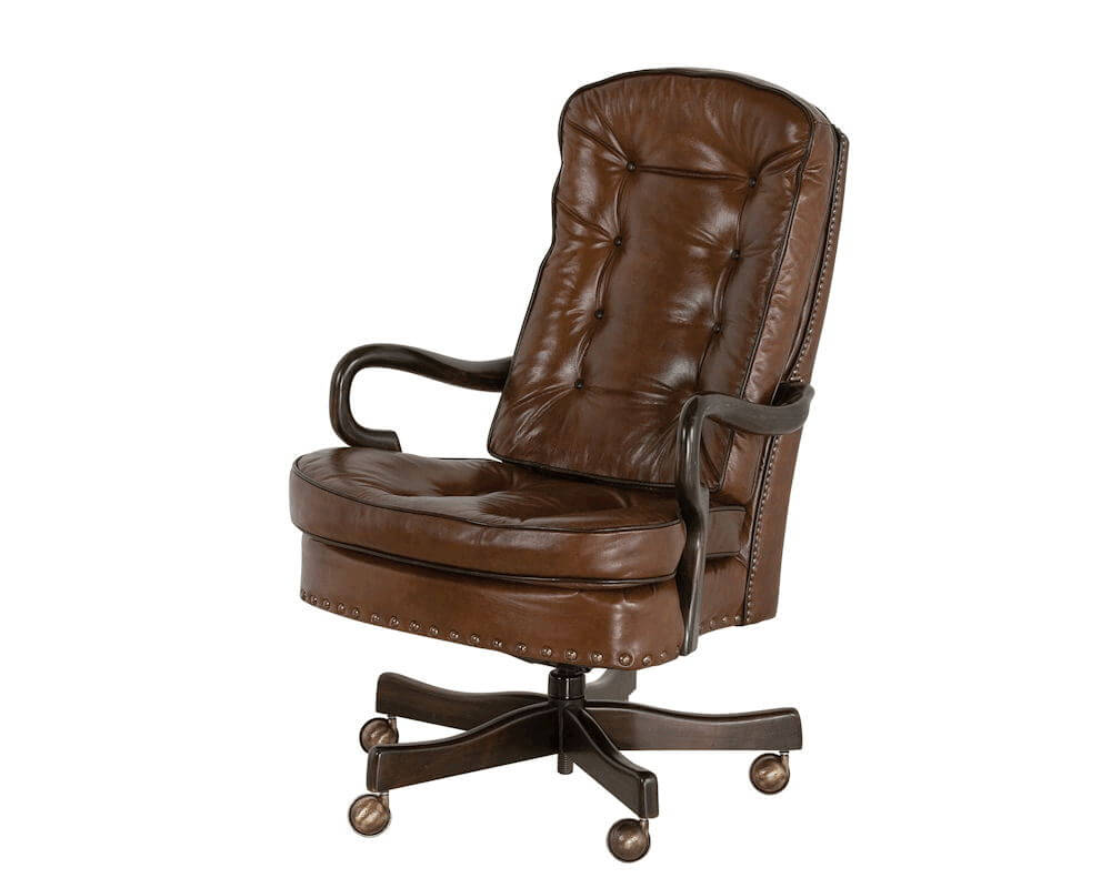 medium resolution of goose neck tufted swivel tilt office chair by classic leather 706 st