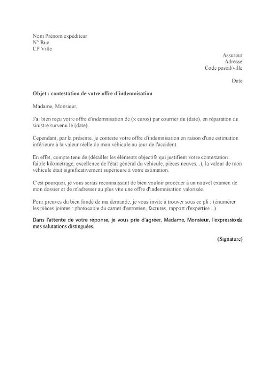 lettre pour assurance