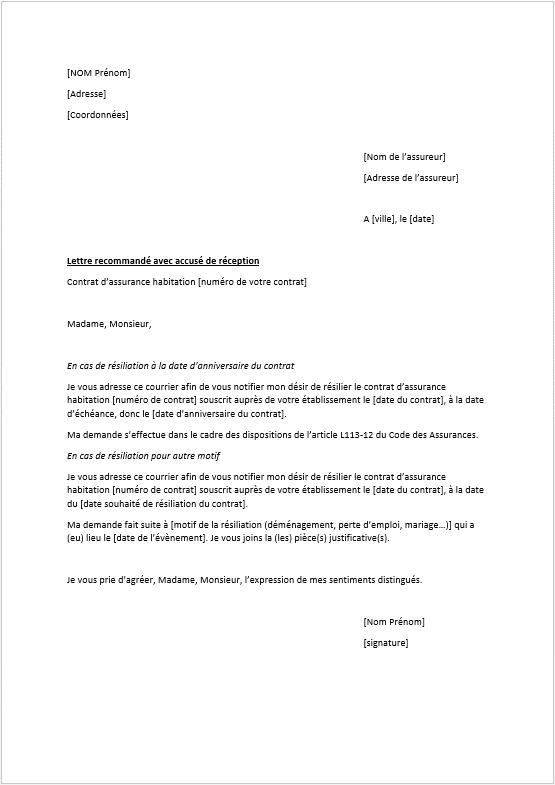 photo courrier type resiliation modele lettre