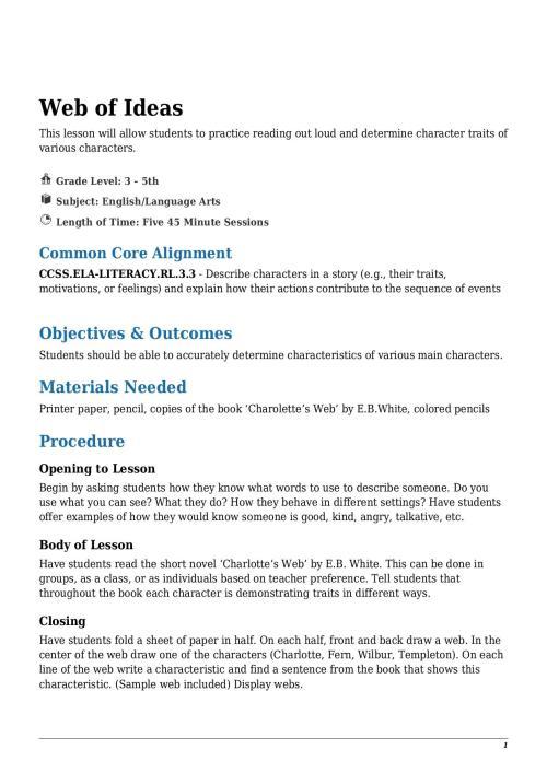 small resolution of Web of Ideas Grade 3 - 5th - Lesson Tutor
