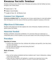 Kwanzaa Socratic Seminar Grade 5 - 7th - Lesson Tutor [ 1754 x 1240 Pixel ]