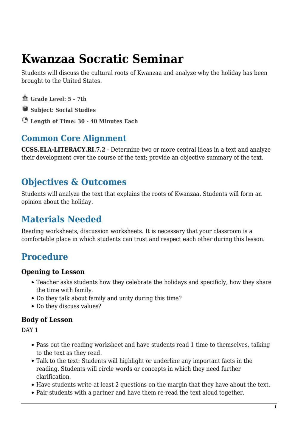medium resolution of Kwanzaa Socratic Seminar Grade 5 - 7th - Lesson Tutor