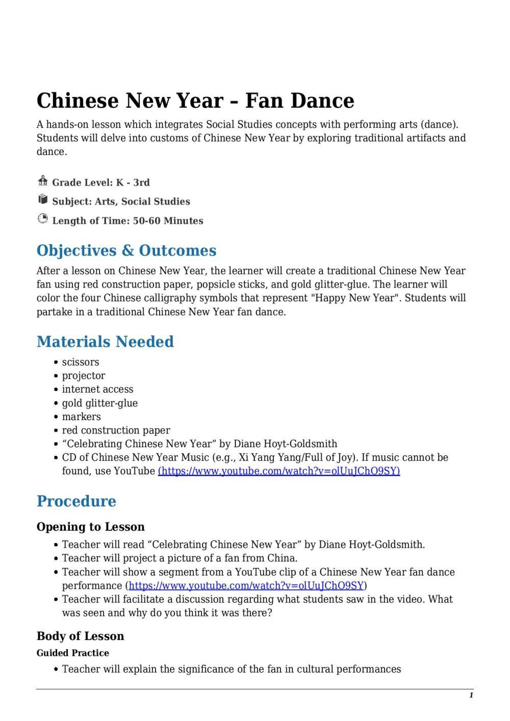 medium resolution of Chinese New Year – Fan Dance Kindergarten - 3rd Grade - Lesson Tutor