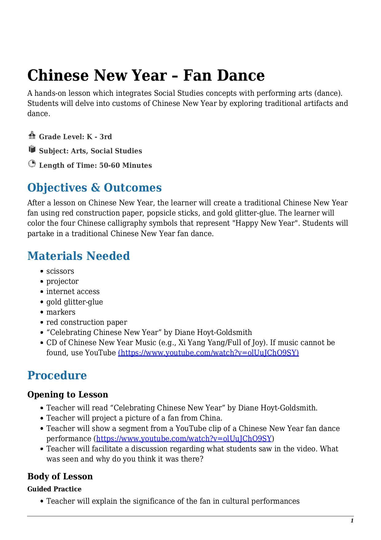 hight resolution of Chinese New Year – Fan Dance Kindergarten - 3rd Grade - Lesson Tutor