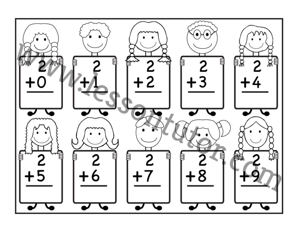 Basic Addition Facts Worksheets Kindergarten