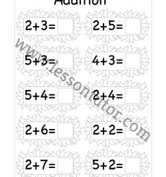 Beginner Addition Single Digit Worksheet First Grade 2 - Lesson Tutor [ 1024 x 791 Pixel ]