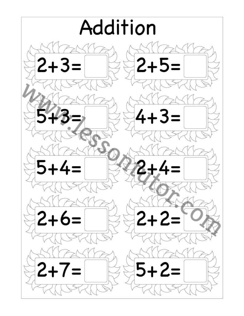 medium resolution of Beginner Addition Single Digit Worksheet First Grade 2 - Lesson Tutor