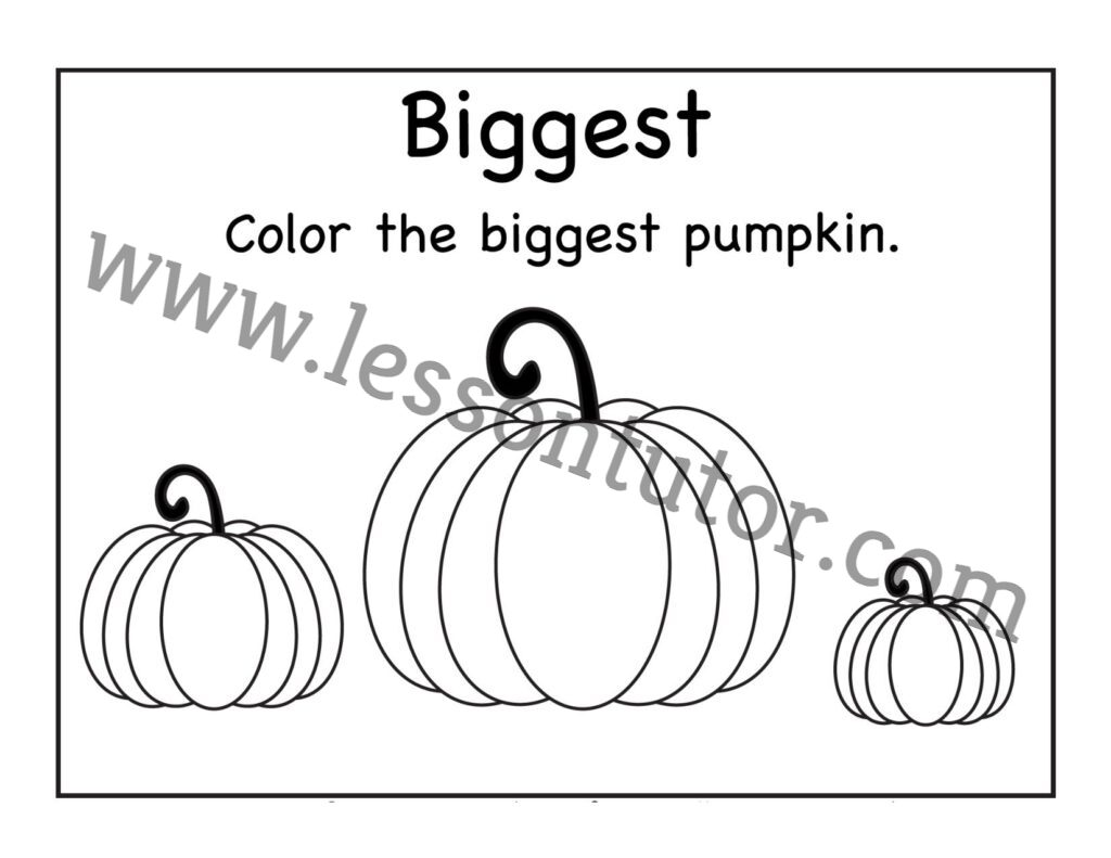 Biggest And Smallest Pumpkin Worksheet Kindergarten