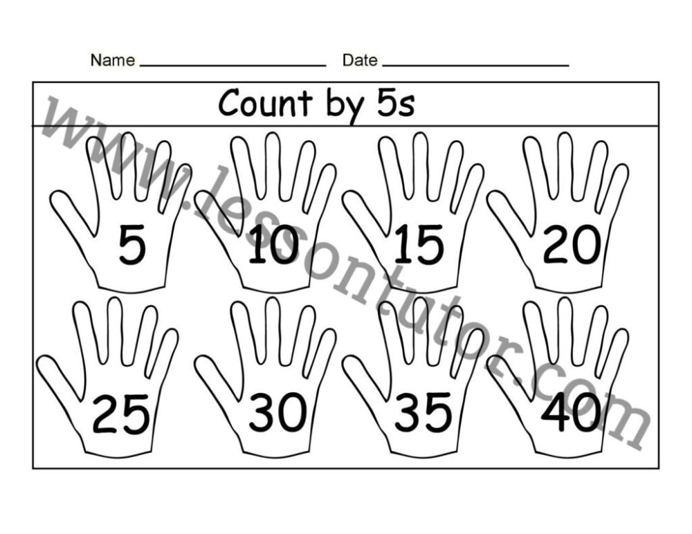 medium resolution of Count by 5s – Three Worksheet First Grade - Lesson Tutor