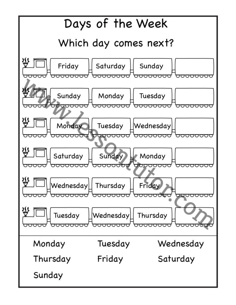 hight resolution of Days of the Week Worksheet First Grade - Lesson Tutor