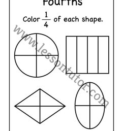 Fourths- Fractions Coloring Worksheet First Grade - 2 - Lesson Tutor [ 1024 x 791 Pixel ]