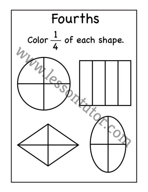 small resolution of Fourths- Fractions Coloring Worksheet First Grade - 2 - Lesson Tutor