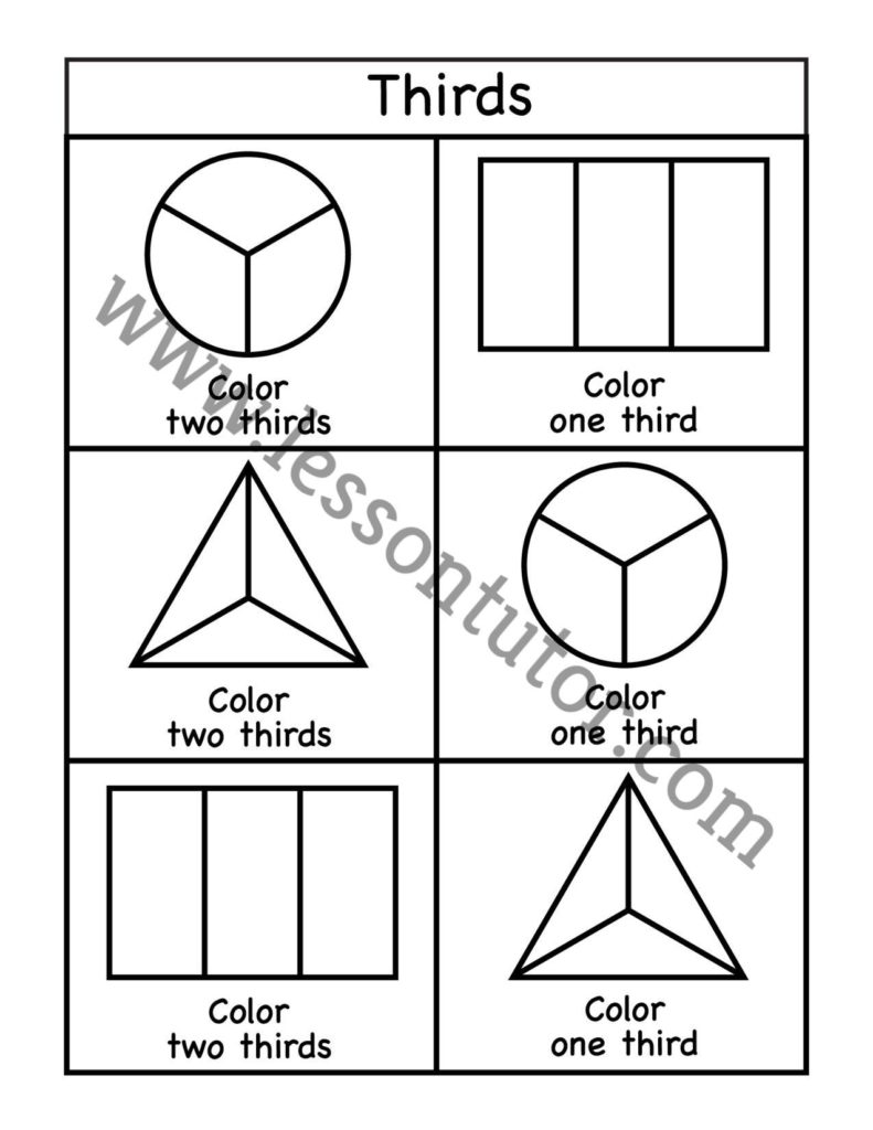 medium resolution of Fractions Coloring Worksheet 2nd Grade - 2 - Lesson Tutor