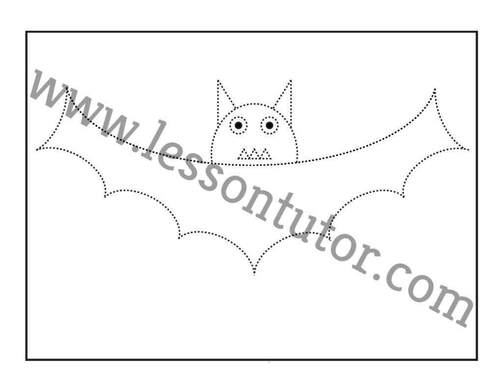 Halloween Bat Tracing And Coloring Worksheets Kindergarten