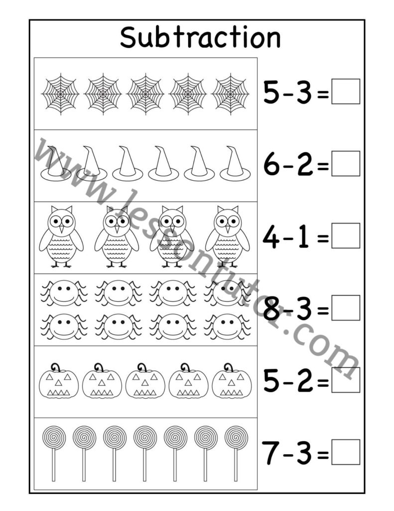 medium resolution of Halloween Picture Subtraction Worksheet Kindergarten - Lesson Tutor