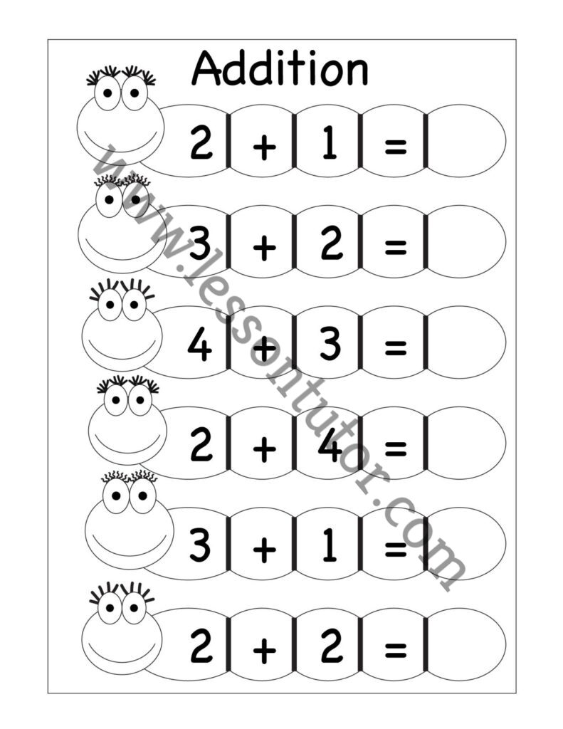 medium resolution of Kindergarten Addition Worksheets Kindergarten 4 - Lesson Tutor