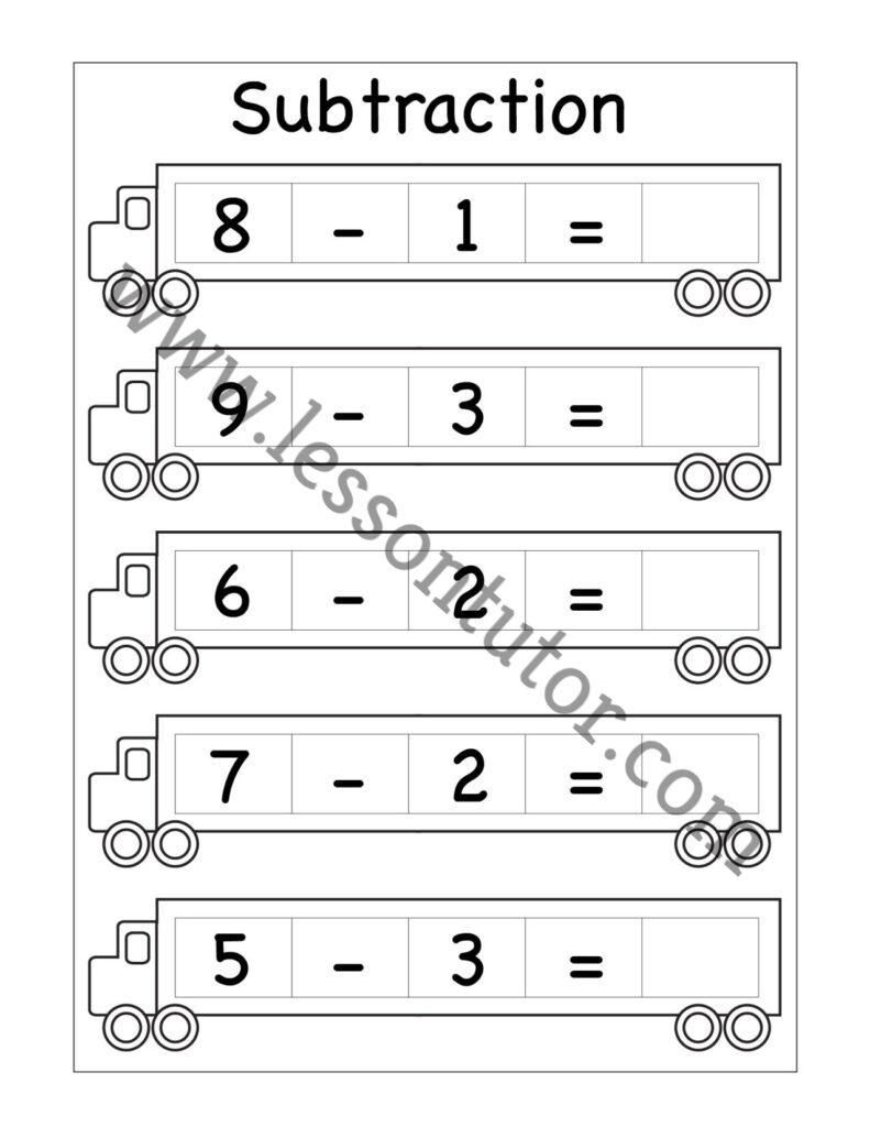 medium resolution of Kindergarten Subtraction Worksheets Kindergarten 3 - Lesson Tutor