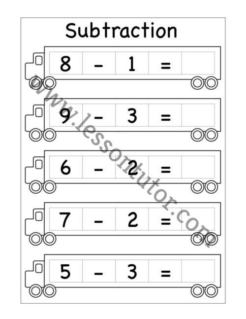small resolution of Kindergarten Subtraction Worksheets Kindergarten 3 - Lesson Tutor