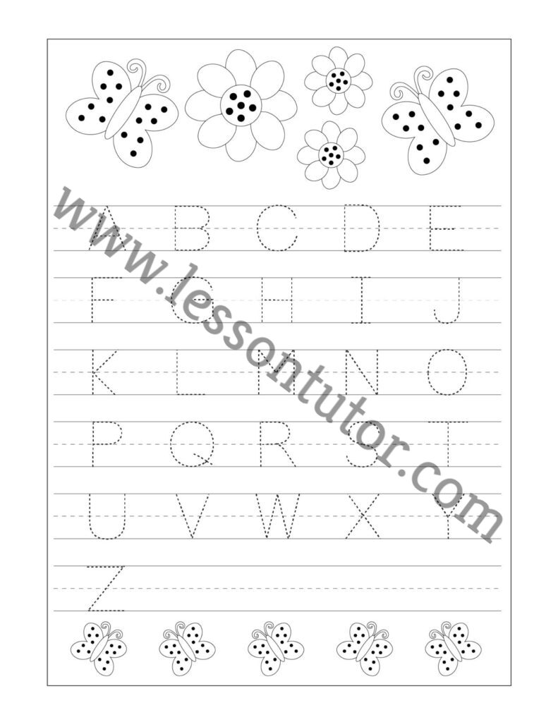 hight resolution of Letter Tracing – Capital Letters -Fruit Theme Worksheet Preschool - Lesson  Tutor