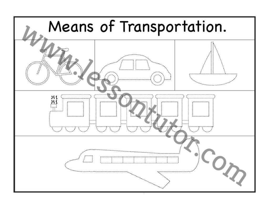 Means Of Transportation Tracing Worksheet Kindergarten