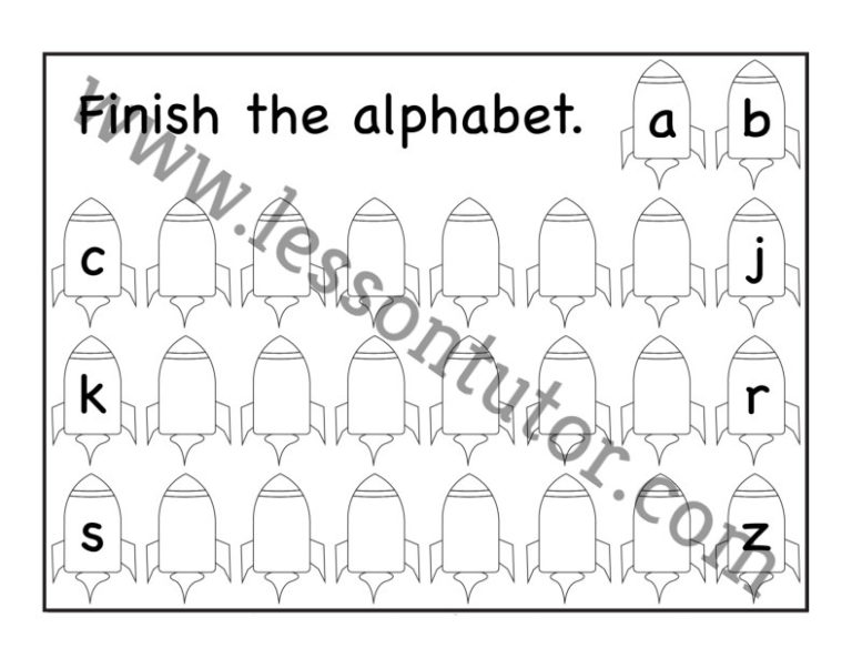 Missing Letters: Lowercase/Small Letters Worksheet