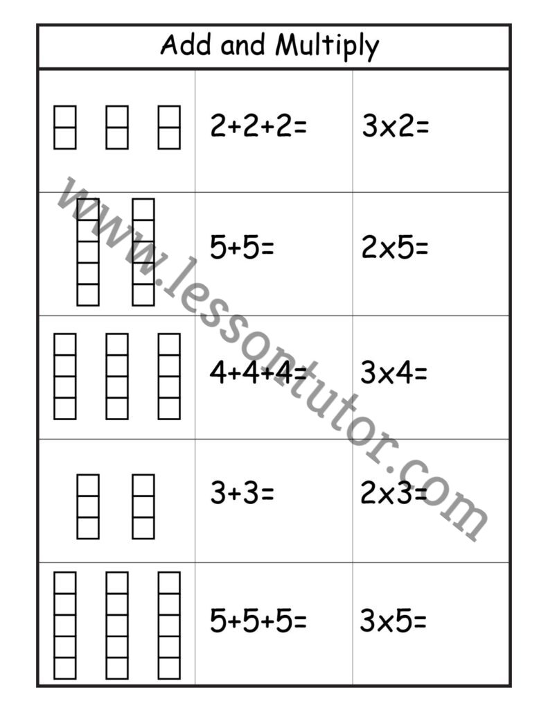 hight resolution of Multiplication – Add and Multiply – Repeated Addition Worksheet Second Grade  2 - Lesson Tutor