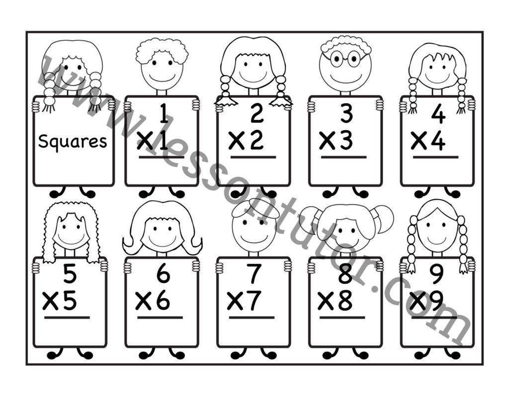 Multiplication Squares Worksheet Kindergarten