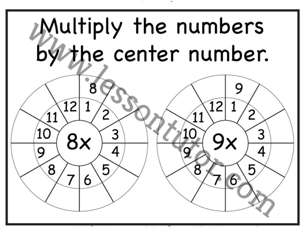 medium resolution of Multiplication Target Circles – 8