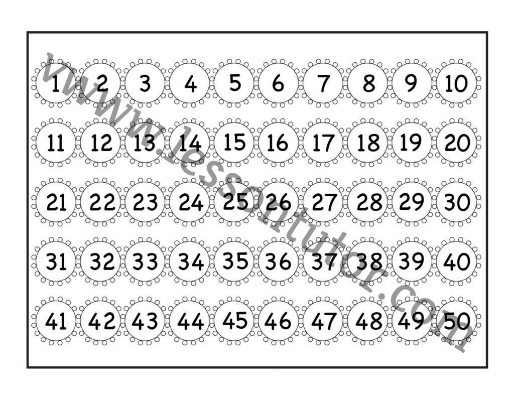Number Chart 1 50 Worksheet Kindergarten 5