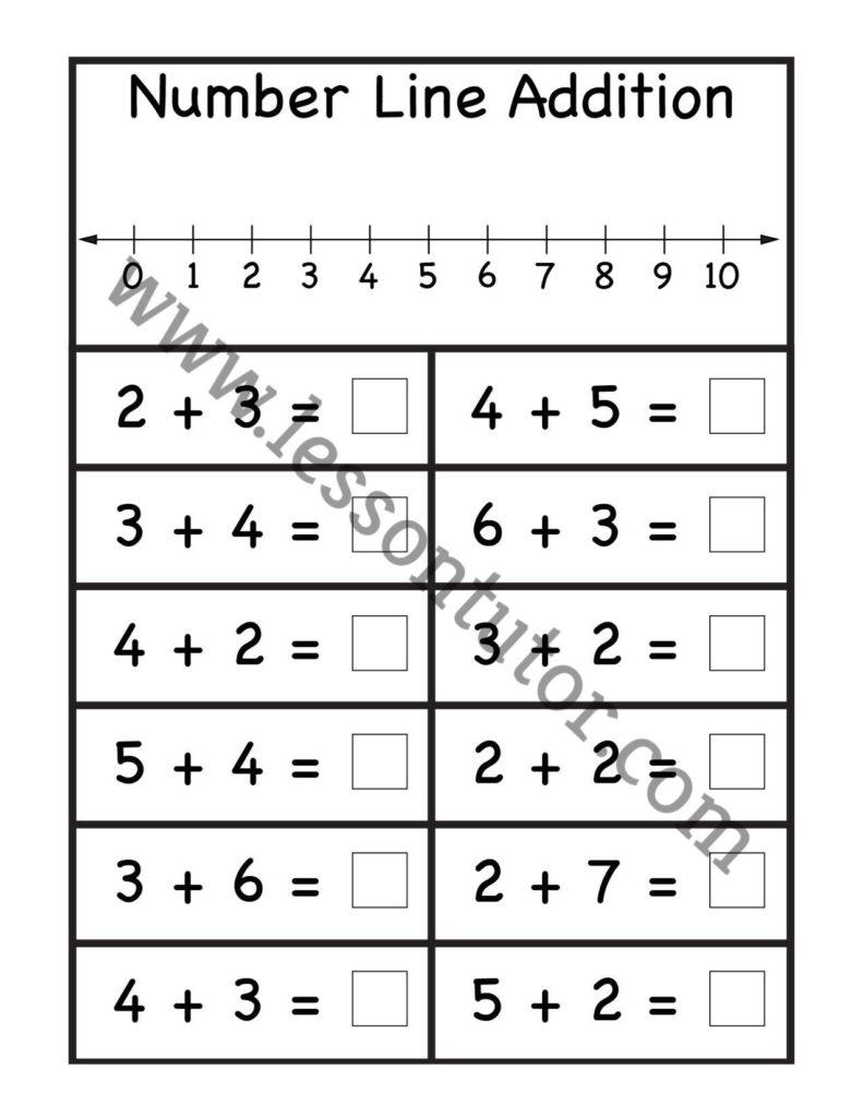 medium resolution of Number Line Addition Worksheet 1st Grade - Lesson Tutor