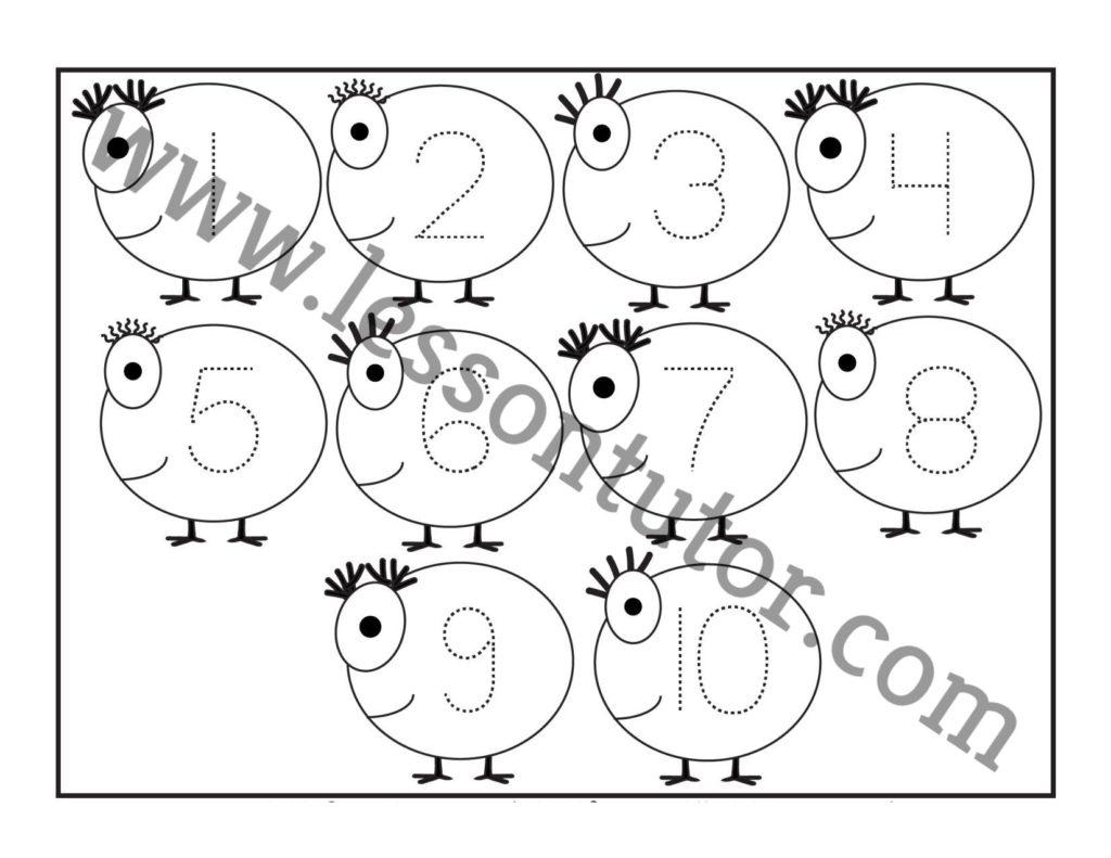 Number Tracing 1 To 10 Worksheet Preschool