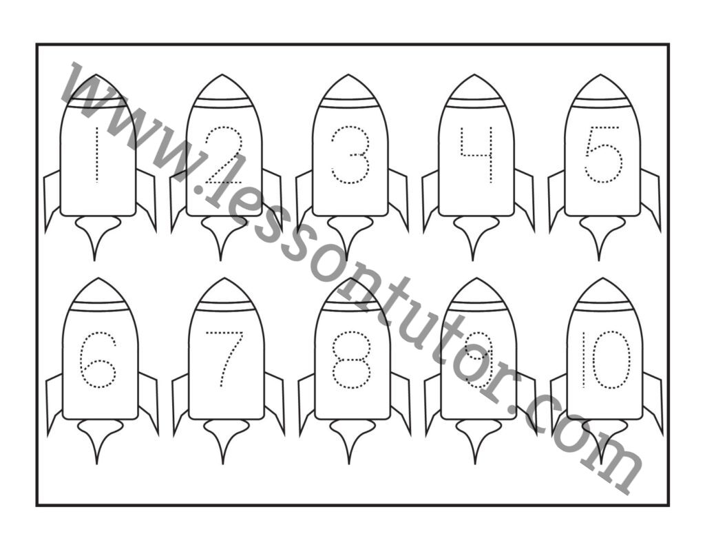 Number Tracing Rocket 1 10 Worksheet Preschool