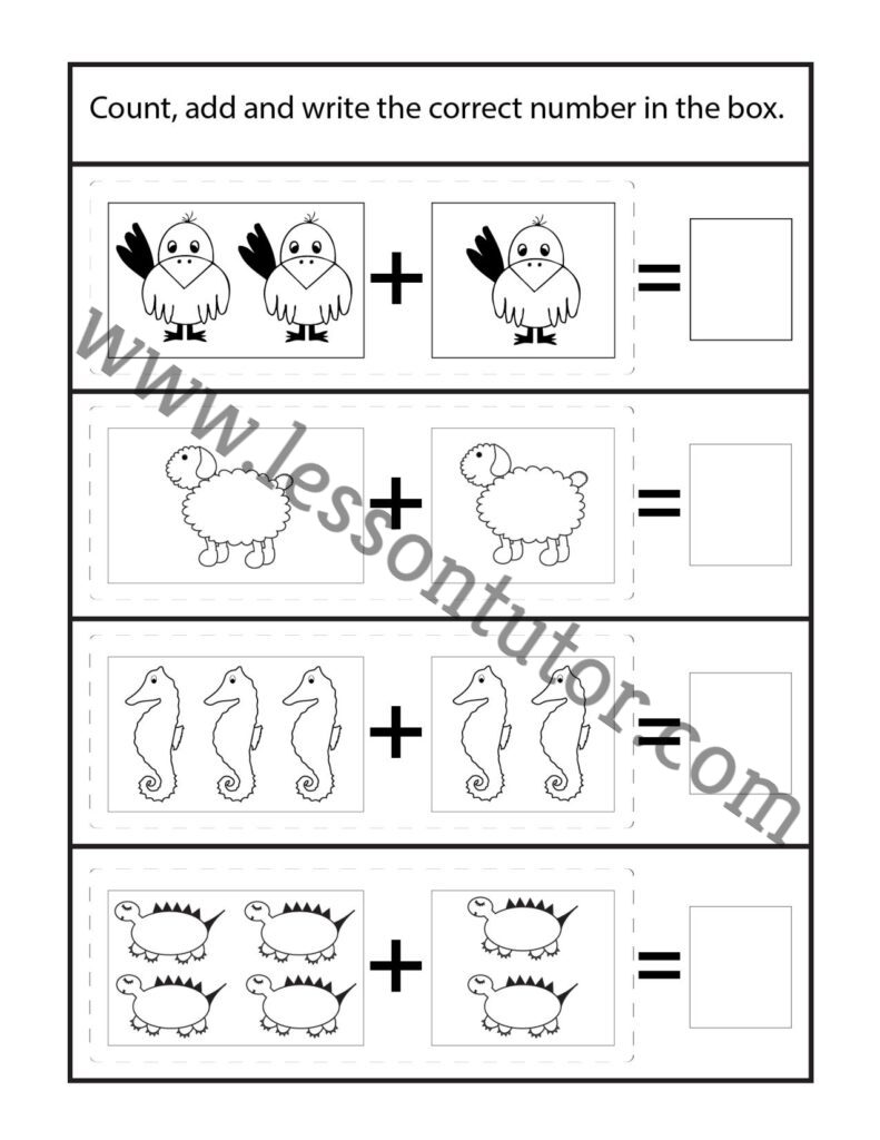 medium resolution of Picture Addition Worksheet Kindergarten - 24 - Lesson Tutor