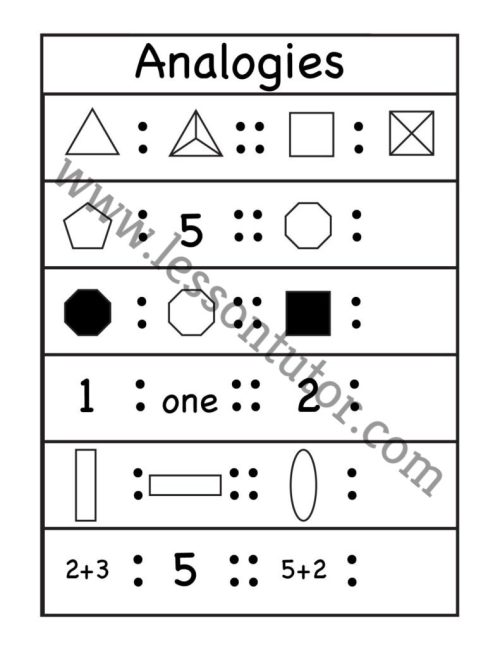 small resolution of Analogy Worksheets - Lesson Tutor