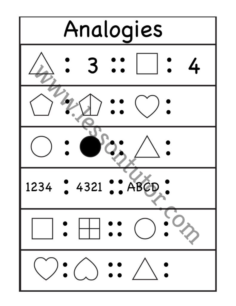 medium resolution of Picture Analogies Worksheet First Grade - Lesson Tutor