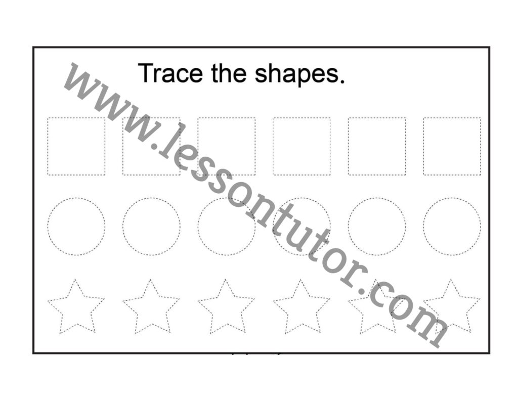 Shapes Tracing Worksheet Kindergarten