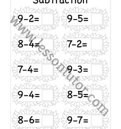 Subtraction One Digit Worksheet Kindergarten 4 - Lesson Tutor [ 1024 x 791 Pixel ]