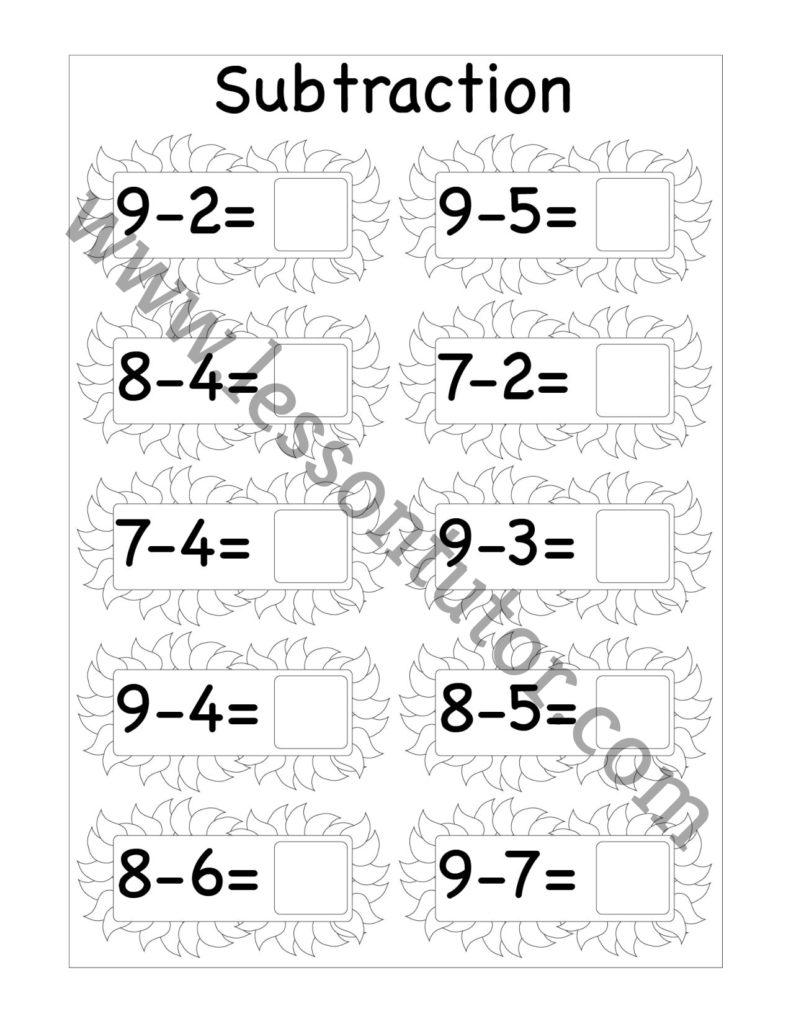 medium resolution of Subtraction One Digit Worksheet Kindergarten 4 - Lesson Tutor