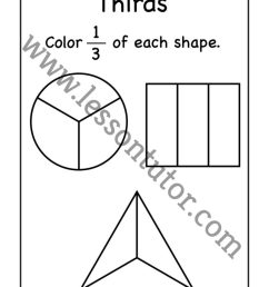 Third Fractions Coloring Worksheet First Grade - Lesson Tutor [ 1024 x 791 Pixel ]