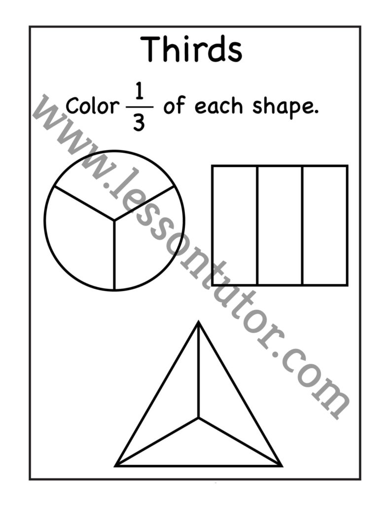 medium resolution of Third Fractions Coloring Worksheet First Grade - Lesson Tutor