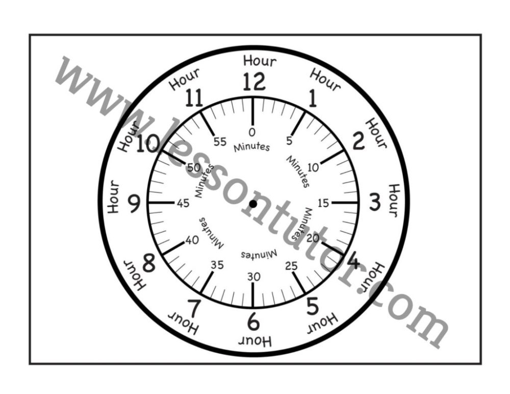 medium resolution of Time – Printable Clock Face – 4 Worksheets - First Grade - Lesson Tutor