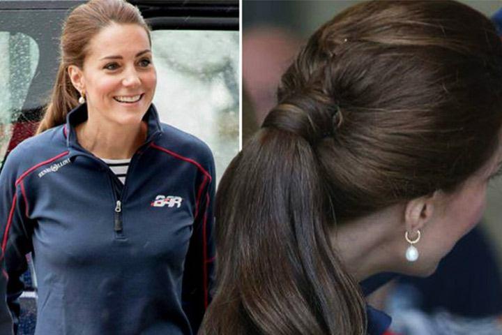 Gaya rambut Kate Middleton: Ponytail look.